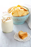 Fresh healthy milk and cookies. Heart shaped cookies for valentine`s day Royalty Free Stock Photo