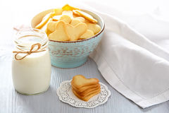Fresh healthy milk and cookies. Heart shaped cookies for valentine`s day Stock Photo