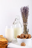 Fresh healthy milk, cookies with raisins, walnuts, bunch of dry cut lavender on white background. selective focus. Royalty Free Stock Photos