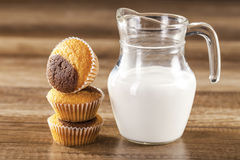 Fresh healthy milk and muffins Royalty Free Stock Photos