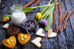 Fresh healthy milk and muffins Royalty Free Stock Photo