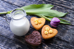 Fresh healthy milk and muffins Stock Photos
