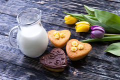 Fresh healthy milk and muffins Stock Images