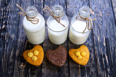 Fresh healthy milk and muffins Stock Photography