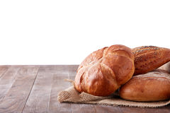 Fresh healthy natural bread food group in studio on table isolated on the white background Stock Photos