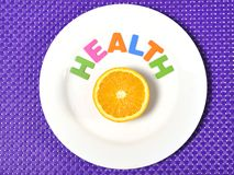 Fresh healthy Orange Fruit and health word on plate Royalty Free Stock Photo