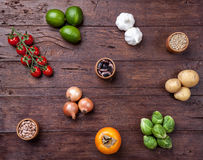 Fresh and healthy organic vegetables and food ingredients Stock Photos