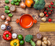 Fresh and healthy organic vegetables and food ingredients Royalty Free Stock Image