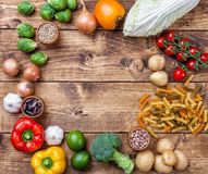 Fresh and healthy organic vegetables and food ingredients Royalty Free Stock Photos