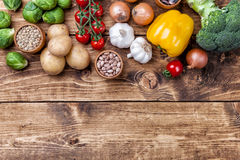 Fresh and healthy organic vegetables and food ingredients Stock Photography