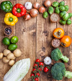 Fresh and healthy organic vegetables and food ingredients Stock Images