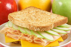 Fresh and healthy picnic sandwich. Gourmet carefully made sandwich,fresh ,healthy and delicious looking Royalty Free Stock Photo