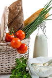 Fresh and healthy products in the basket Stock Photography