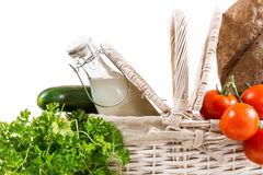 Fresh and healthy products in the basket Stock Photos