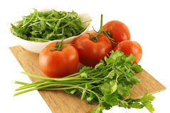 Fresh and healthy raw food ingredients. Over white background Stock Images