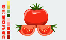 Fresh healthy red single and slice tomatoes with flat style. Fresh healthy red tomatoes with flat, solid style. Ideal for healthy lifestyle or diet design vector illustration