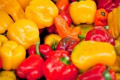 Fresh healthy red yellow geen paprika pepper macro closeup Stock Photo