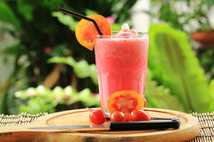 Fresh healthy refreshing tomato smoothies Royalty Free Stock Photo