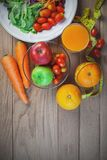Fresh healthy salad with different fruits and vegetables on wooden Royalty Free Stock Photography