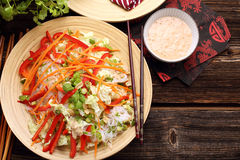 Fresh healthy salad with rice noodles and nuts Royalty Free Stock Photo