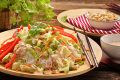 Fresh healthy salad with rice noodles and nuts Royalty Free Stock Images