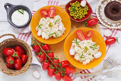 Fresh healthy salad of vegetables and meat. olivier salad Stock Images