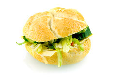 Fresh healthy sandwich. Stuffed with chees and lettuce isolated on white background stock photo