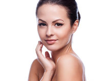 Fresh Healthy Skin.Isolated on White. Beautiful Young Woman Touching Her Face.Fresh Healthy Skin.Isolated on White royalty free stock image