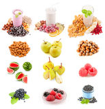 Fresh healthy smoothie with fruits, berries, nuts. Fresh healthy smoothie with fruits, berries, nuts Stock Photos