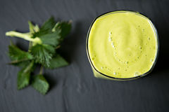 Fresh Healthy Smoothie Made Of Banana avocado. And nettle stock image