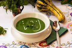 ,. Fresh healthy spinach soup full of minerals and vitamins Royalty Free Stock Image