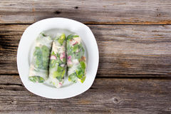Fresh healthy spring roll wrap. Fresh healthy chicken and vegetable spring roll wrap Stock Photography