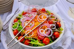 Greek vegetable salad with top view fresh healthy spring salad bowl stock image