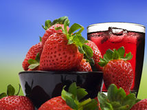 Fresh healthy strawberries and juice Royalty Free Stock Image