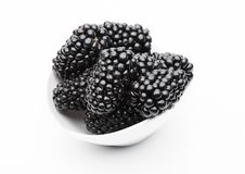 Fresh healthy summer blackberries in white bowl. On white background Stock Images