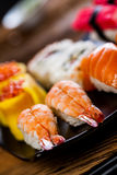Fresh, healthy and tasty oriental sushi with seafood Stock Images