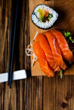 Fresh, healthy and tasty oriental sushi with seafood Royalty Free Stock Photo