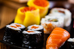 Fresh, healthy and tasty oriental sushi with seafood Royalty Free Stock Photos