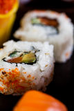 Fresh, healthy and tasty oriental sushi with seafood Royalty Free Stock Image