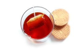 Fresh healthy tea in glass with cookies(biscuits) Stock Photos