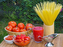 Fresh healthy tomato juice and ketchup for pasta Stock Image
