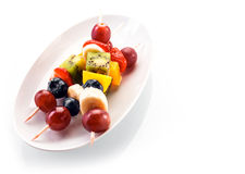 Fresh healthy tropical fruit kebabs Stock Image