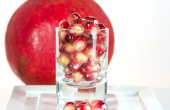 Fresh healthy tropical pomegranate in glass Royalty Free Stock Photo