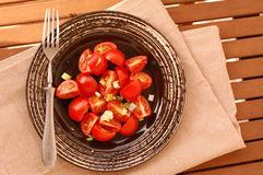 Fresh healthy vegan salad with red tomatoes and spring onion on dark plate with fork on brown cloth on wooden background Stock Images
