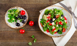 Fresh healthy vegetable salad with feta cheese. Stock Image
