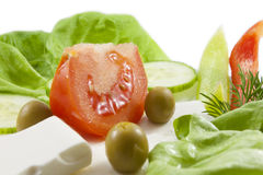 Fresh healthy vegetables  salad with feta Stock Photography