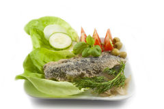 Fresh healthy vegetables  salad with fish Royalty Free Stock Photography