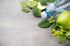Fresh healthy vegetables, water. Health, sport and diet concept. Fresh healthy vegetables, water. Health, sport and diet concept royalty free stock photos
