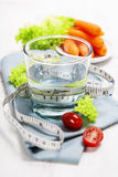 Fresh healthy vegetables and water Royalty Free Stock Photos
