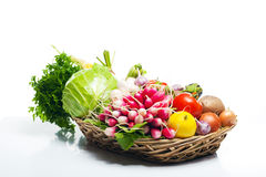 Fresh Healthy Vegetables on a White Background. Stock Photo